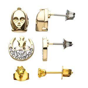 Star Wars C3PO, Rebel Symbol and Stud Earring Set